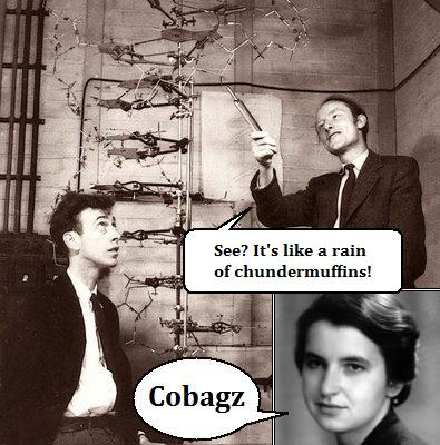 Watson and Crick attempt to interpret Rosalind Franklin's data.